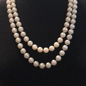 "54"" vintage pearl necklace with clasp"